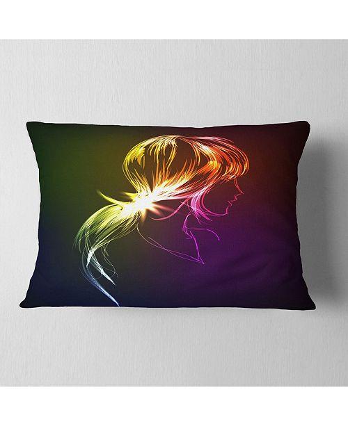 "Design Art Designart Illuminating Fractal Girl S Head Abstract Throw Pillow - 12"" X 20"""