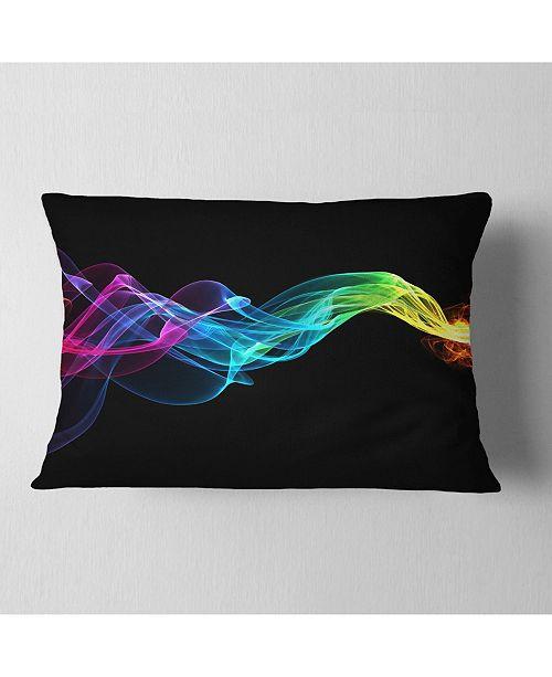 "Design Art Designart Abstract Ribbon Waves On Black Abstract Throw Pillow - 12"" X 20"""