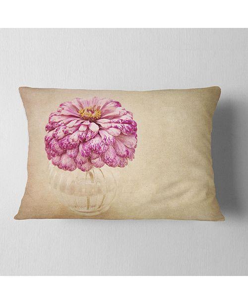 "Design Art Designart Pink Flower In Vase Watercolor Floral Throw Pillow - 12"" X 20"""