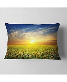 """Designart Beauty Sunset Over Sunflowers Field Floral Throw Pillow - 12"""" X 20"""""""
