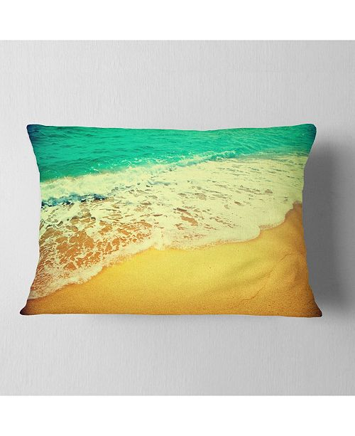 "Design Art Designart Beautiful Sea Summer Background Seashore Throw Pillow - 12"" X 20"""