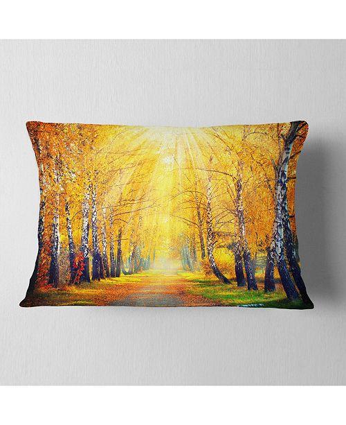 "Design Art Designart Yellow Autumn Trees In Sunray Landscape Printed Throw Pillow - 12"" X 20"""