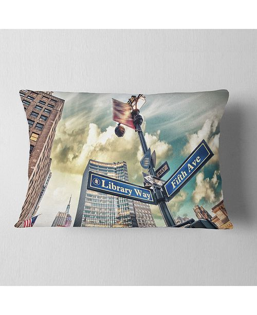 "Design Art Designart Library Way And 5Th Avenue Street Signs Modern Cityscape Throw Pillow - 12"" X 20"""