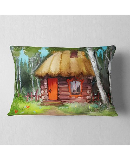 "Design Art Designart Rural Landscape With House Landscape Printed Throw Pillow - 12"" X 20"""