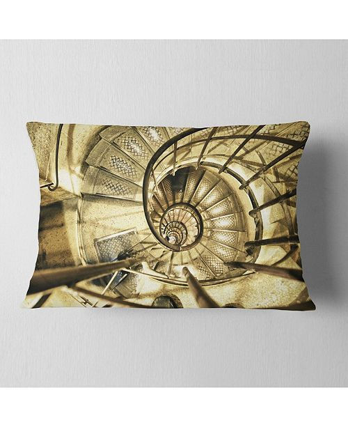 "Design Art Designart Architectural Detail Of Paris In Winter Abstract Throw Pillow - 12"" X 20"""