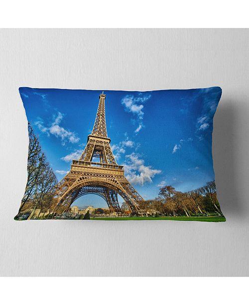 "Design Art Designart Beautiful Winter Day In Paris Throw Pillow - 12"" X 20"""