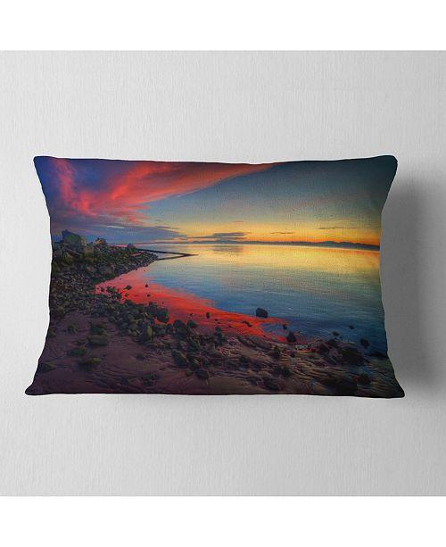 "Design Art Designart Blasts Of Color At The Sunset Seashore Throw Pillow - 12"" X 20"""