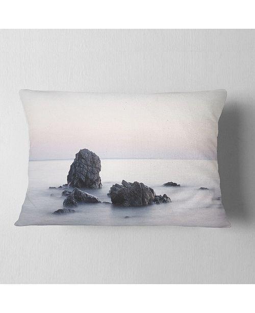 "Design Art Designart Rocks In The Sea Black And White Seashore Throw Pillow - 12"" X 20"""
