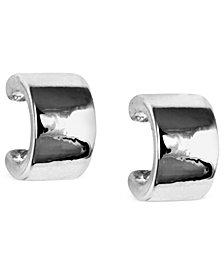 Nine West Earrings, Silver-Tone Small C-Hoop Earrings