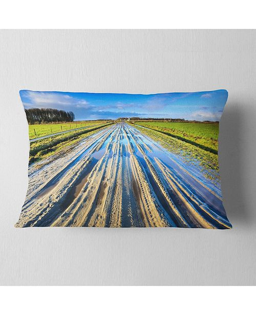 "Design Art Designart Muddy Sand Lane On Sunny Day Landscape Printed Throw Pillow - 12"" X 20"""