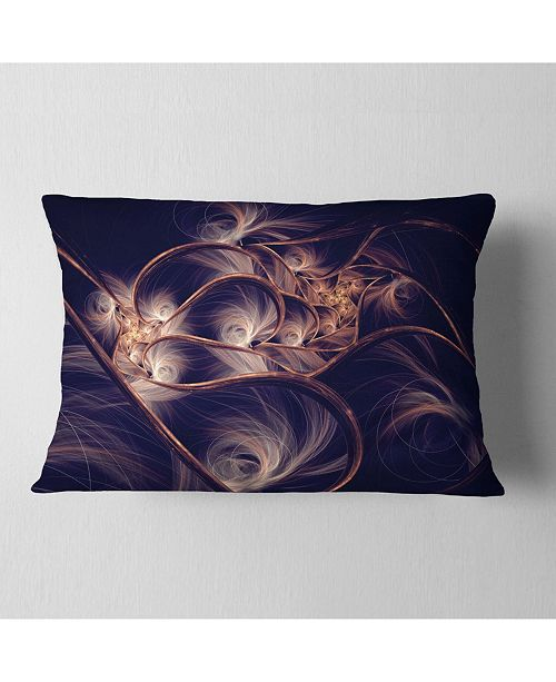 "Design Art Designart Dark Gold Fractal Flower Pattern Abstract Throw Pillow - 12"" X 20"""