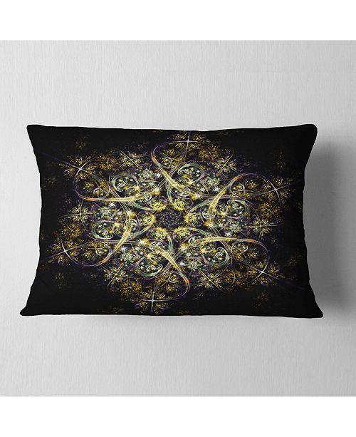 """Design Art Designart Black Yellow Fractal Flower Pattern Abstract Throw Pillow - 12"""" X 20"""""""