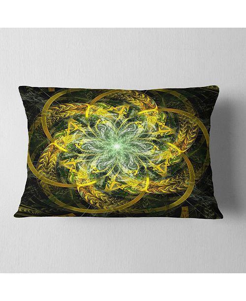 """Design Art Designart Yellow And Green Fractal Flower Abstract Throw Pillow - 12"""" X 20"""""""