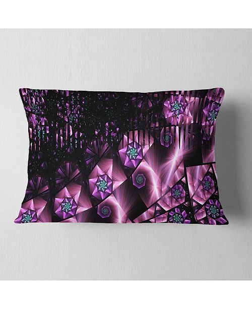 "Design Art Designart Purple Radiance Of Starry Sky Abstract Throw Pillow - 12"" X 20"""