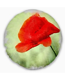 """Designart Big Red Poppy Flower Watercolor Floral Throw Pillow - 16"""" Round"""