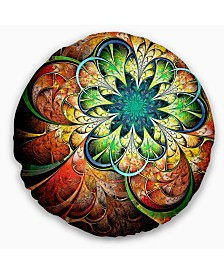 "Designart Colorful Fractal Flower Pattern Floral Throw Pillow - 16"" Round"