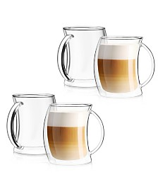 JoyJolt Caleo Double Wall Insulated Latte Glasses, Set of 4