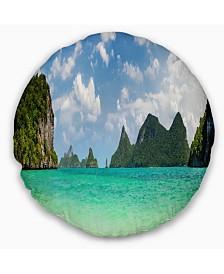 "Designart Thailand Beach Panorama Landscape Printed Throw Pillow - 16"" Round"