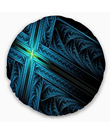 """Designart Turquoise Fractal Cross Design Abstract Throw Pillow - 16"""" Round"""