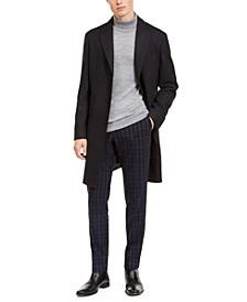 Men's Malibu Slim-Fit Charcoal Plaid Overcoat