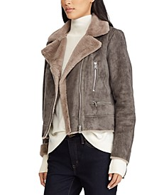 Asymmetrical Faux-Shearling Moto Coat