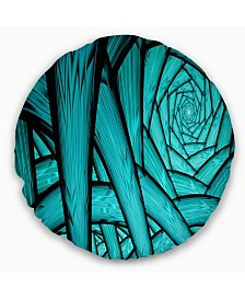 """Designart Turquoise Fractal Endless Tunnel Abstract Throw Pillow - 20"""" Round"""