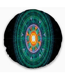 """Designart Cabalistic Turquoise Fractal Sphere Abstract Throw Pillow - 20"""" Round"""