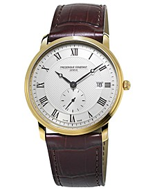 Men's Swiss Slimline Quartz Brown Leather Strap Watch 39mm