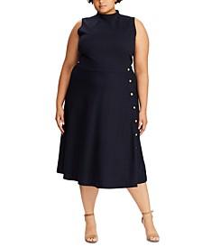 Plus Size Button-Trim Ponte Dress