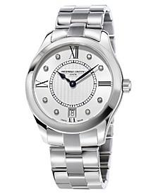 Frederique Constant Women's Swiss Quartz Diamond (1/10 ct. t.w.) Stainless Steel Bracelet Watch 36mm