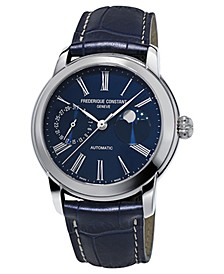Men's Swiss Automatic Classic Moonphase Manufacture Blue Leather Strap Watch 42mm