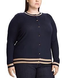 Lauren Ralph Lauren Plus Size Metallic-Trim Cardigan