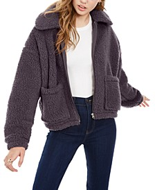 Juniors' Zip-Front Sherpa Jacket