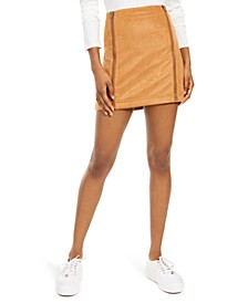 Juniors' Faux-Suede Zipper Mini Skirt