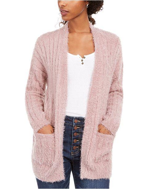Hippie Rose Juniors' Fuzzy Rib-Knit Cardigan