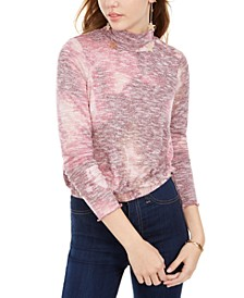 Juniors' Plush Tie Dye Turtleneck Top
