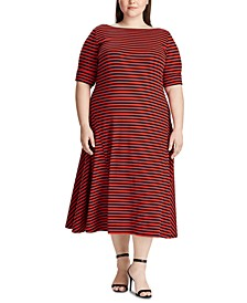 Plus Size Stripe-Print Short-Sleeve Fit & Flare Dress