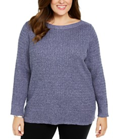 Karen Scott Plus Size Cotton Boat Neck Sweater, Created For Macy's