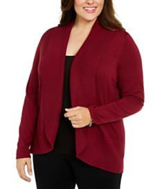 Karen Scott Plus Size Open-Front Cardigan Sweater, Created For Macy's