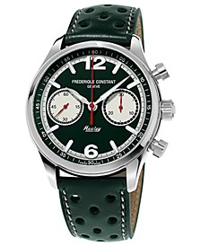 Men's Swiss Automatic Chronograph Vintage Rally Healey Green Perforated Leather Strap Watch 42mm
