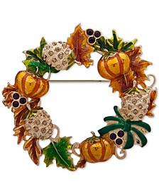 Gold-Tone Pavé Fall Wreath Pin