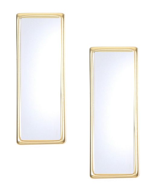 Trifari 14K Gold-Plated Mirror Bar Stud Earrings