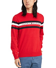 Men's Casper Regular-Fit Stripe Embroidered Logo Sweater