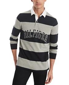 Tommy Hilfiger Men's Washington Custom-Fit Rugby Stripe Logo Polo Shirt