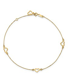 Adjustable Heart Anklet in 14k Yellow Gold