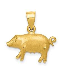 Pig Pendant in 14k Yellow Gold