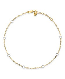 Circle Anklet in 14k Yellow and White Gold