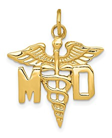 M.D. Caduceus Charm in 14k Yellow Gold