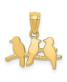 Three Birds on Tree Pendant in 14k Yellow Gold