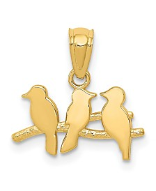 Three Birds on Tree Pendant in 14k Yellow Gold